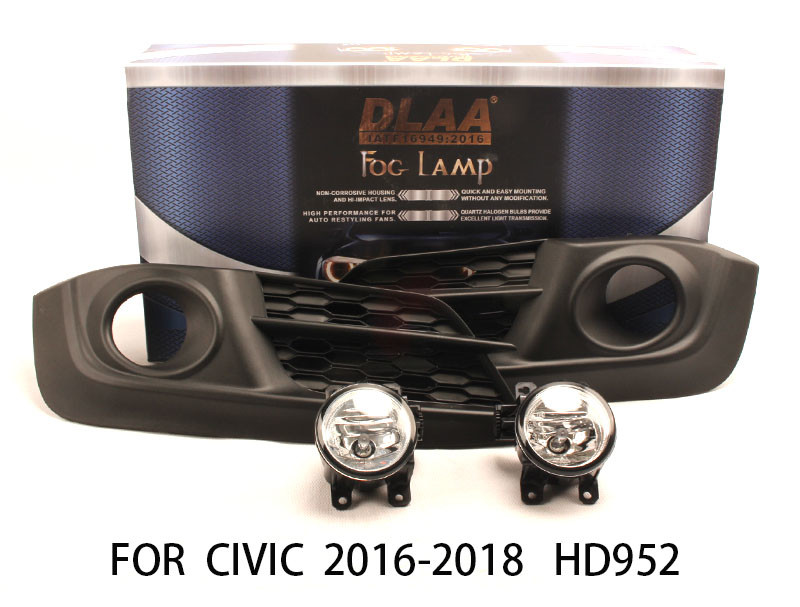 DLAA  Fog Lights Set Bumper Lamp FOR CIVIC 2016-2018