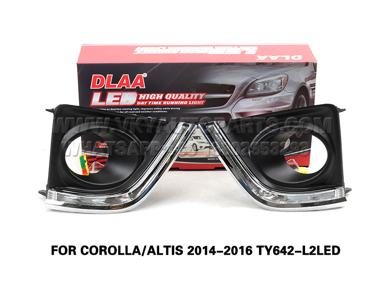 DLAA Fog Lamp Set Bumper Lights drl led daytime fog lights FOR COROLLA ALTIS 2014-2016 TY642-L2LED