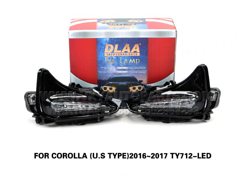 DLAA  dri led daytime running lights Fog Lamp front Set Bumper Lights FOR COROLLA (U.S TYPE)2016~2017 TY712-LED
