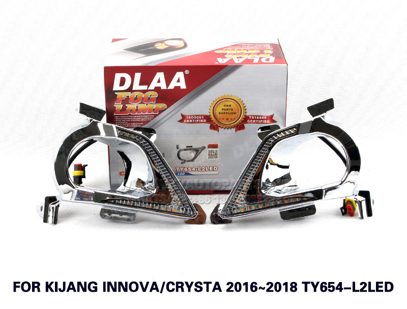 DLAA Fog Lights Set Bumper Lamp With LED FOR KIJANG INNOV ACRYSTA 2016~2018 TY654-L2LED