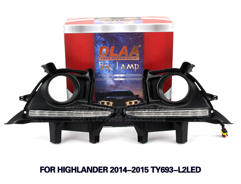 DLAA Fog Light Set Bumper Lamp FOR Highlander 2014-2015 TY693-l2led