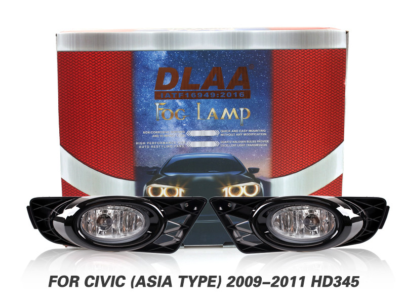 DLAA Fog Lamps Set Bumper Lights withwire For CIVIC (ASIA TYPE) 2009-2011 HD345